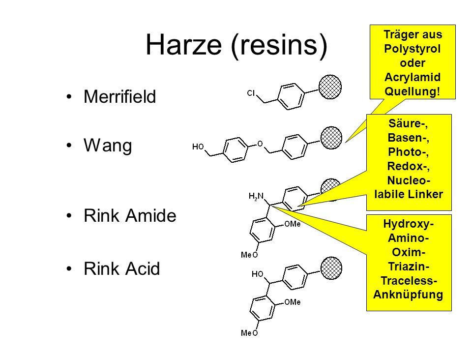 Harze (resins) Merrifield Wang Rink Amide Rink Acid Träger aus Polystyrol oder Acrylamid Quellung! Säure-, Basen-, Photo-, Redox-, Nucleo- labile Link