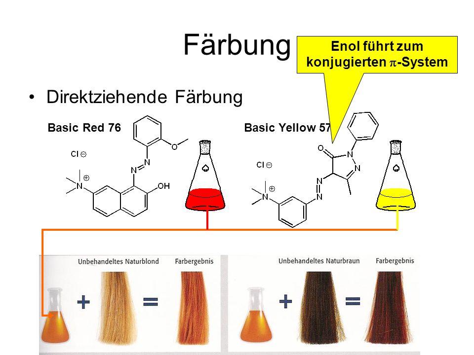 Färbung Oxidative Färbung in Ammoniak Lösung 1,4-Diaminobenzol funktioniert auch, ist aber stark allergen H 2 O 2 oxidiert gleichzeitig die natürliche Farbe Haarquellung und eindringen der Kupplungskomponenten Kupplung durch S E Ar mit Donor oder Tyrosin und Phenylalanin