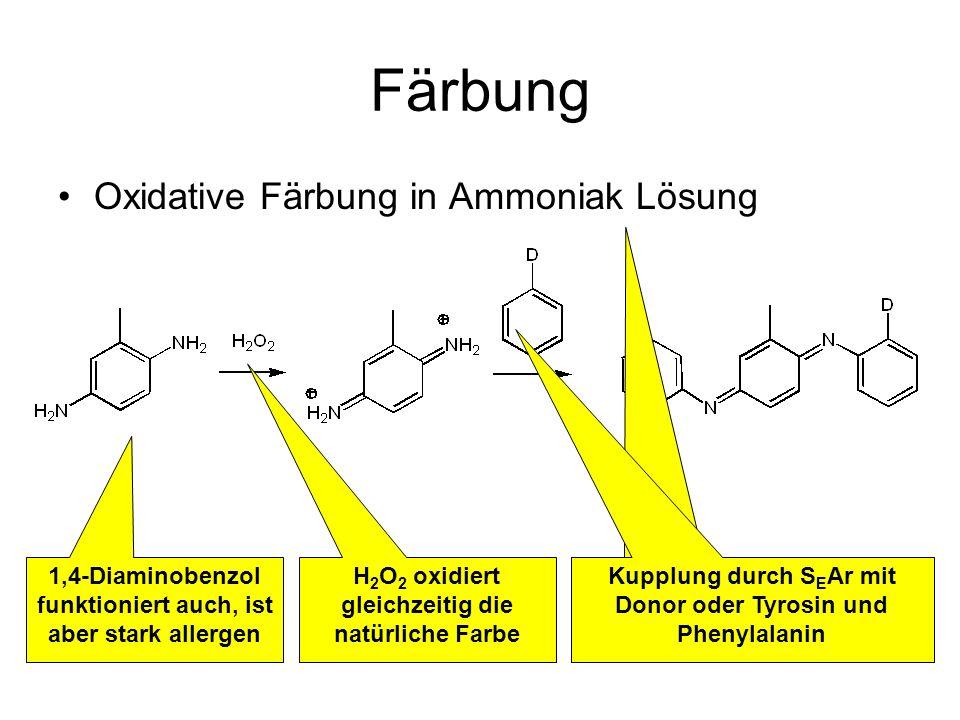 Färbung Oxidative Färbung in Ammoniak Lösung 1,4-Diaminobenzol funktioniert auch, ist aber stark allergen H 2 O 2 oxidiert gleichzeitig die natürliche