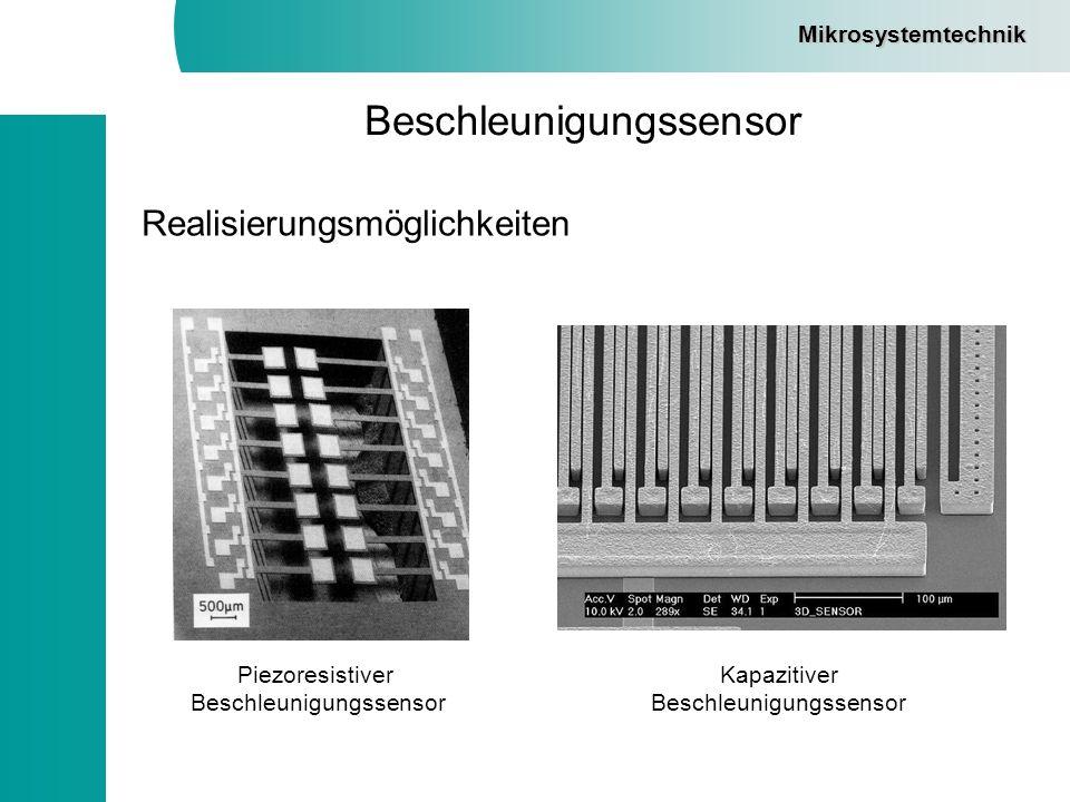 Mikrosystemtechnik Beschleunigungssensor Realisierungsmöglichkeiten Piezoresistiver Beschleunigungssensor Kapazitiver Beschleunigungssensor