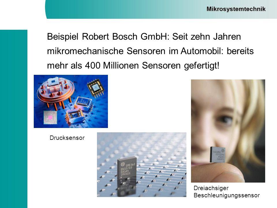 Beispiel Robert Bosch GmbH: Seit zehn Jahren mikromechanische Sensoren im Automobil: bereits mehr als 400 Millionen Sensoren gefertigt! Mikrosystemtec