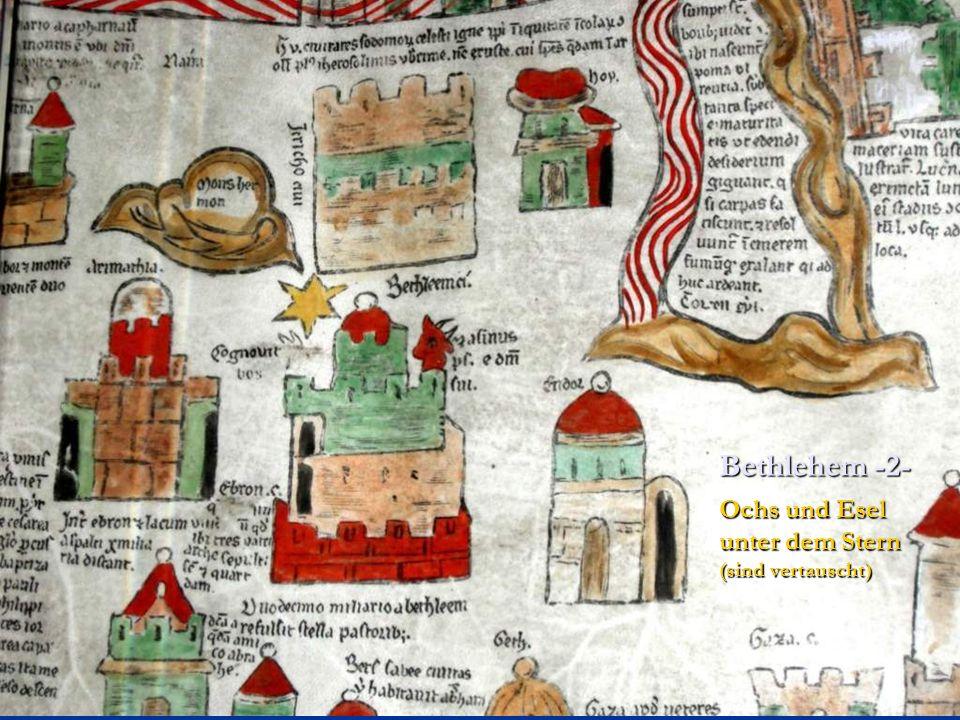 Ochs und Esel unter dem Stern (sind vertauscht) Bethlehem -2-