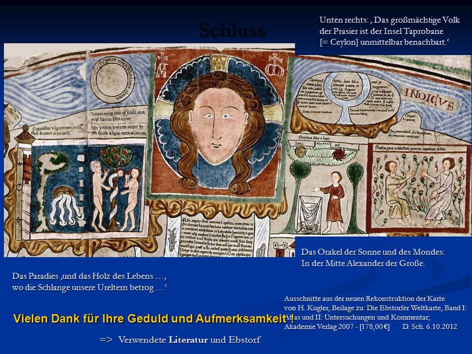 Ausschnitte aus der neuen Rekonstruktion der Karte von H. Kugler, Beilage zu: Die Ebstorfer Weltkarte, Band I: Atlas und II: Untersuchungen und Kommen