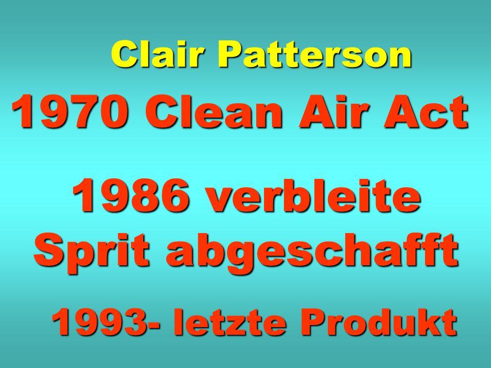 1970 Clean Air Act Clair Patterson 1986 verbleite Sprit abgeschafft 1993- letzte Produkt
