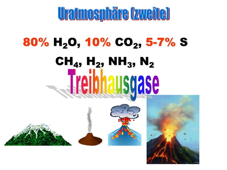 CH 4, H 2, NH 3, N 2 80% H 2 O, 10% CO 2, 5-7% S