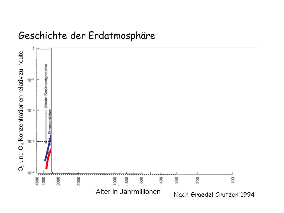 Geschichte der Erdatmosphäre Nach Graedel Crutzen 1994 O2O2 Alter in Jahrmillionen O 2 und O 3 Konzentrationen relativ zu heute t (Ma)O 2 O 3 -400010