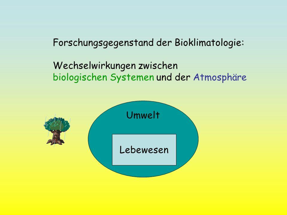 Umwelt Forschungsgegenstand der Bioklimatologie: Wechselwirkungen zwischen biologischen Systemen und der Atmosphäre Lebewesen Umwelt