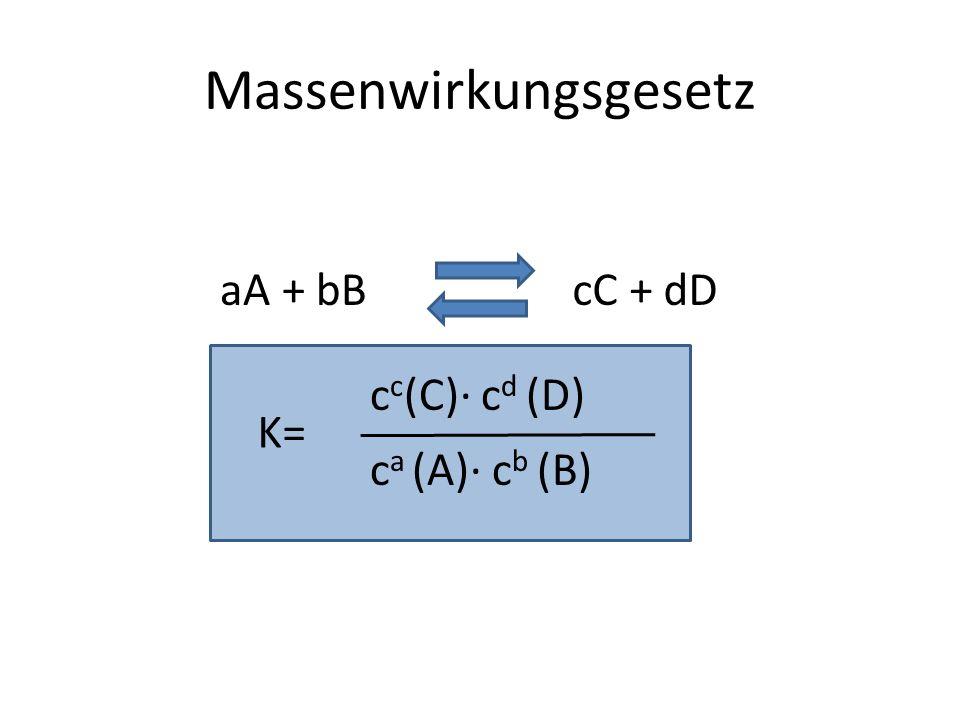 Massenwirkungsgesetz aA + bBcC + dD c a (A) c b (B) c c (C) c d (D) K=