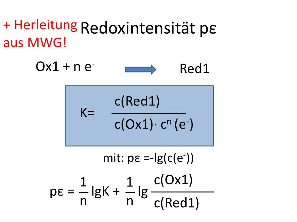 Redoxintensität pε c(Ox1) c n (e - ) c(Red1) K= Ox1 + n e - Red1 mit: pε =-lg(c(e - )) pε = 1 n lgK + 1 n lg c(Red1) c(Ox1) + Herleitung aus MWG!