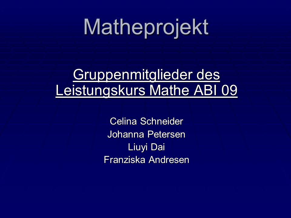 Matheprojekt Gruppenmitglieder des Leistungskurs Mathe ABI 09 Celina Schneider Johanna Petersen Liuyi Dai Franziska Andresen