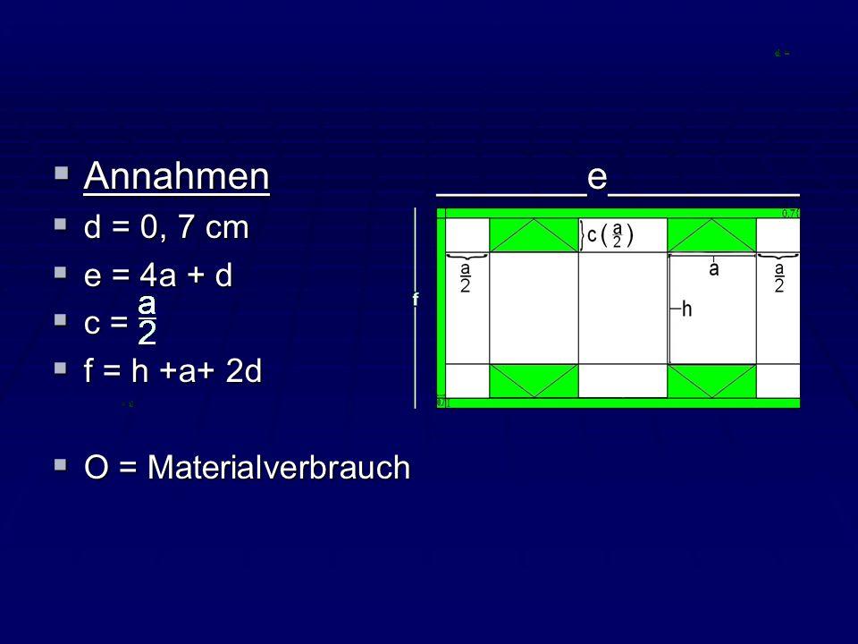 Annahmen _______e_________ Annahmen _______e_________ d = 0, 7 cm d = 0, 7 cm e = 4a + d e = 4a + d c = c = f = h +a+ 2d f = h +a+ 2d O = Materialverb