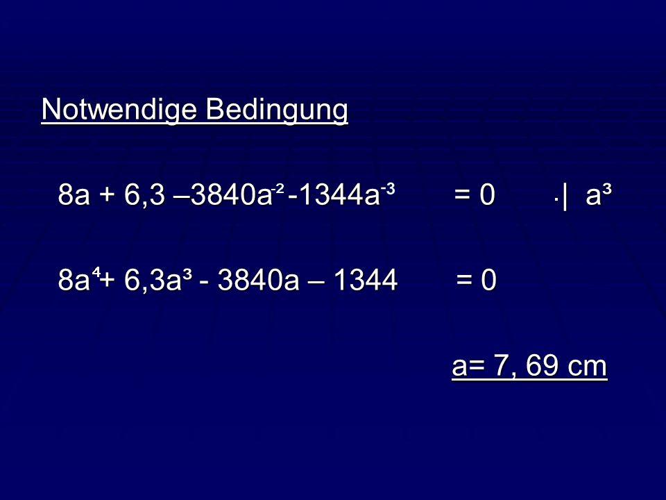 Notwendige Bedingung 8a + 6,3 –3840a -1344a = 0 | a³ 8a + 6,3 –3840a -1344a = 0 | a³ 8a + 6,3a³ - 3840a – 1344 = 0 8a + 6,3a³ - 3840a – 1344 = 0 a= 7,