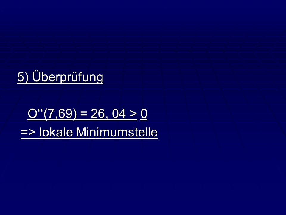 5) Überprüfung O(7,69) = 26, 04 > 0 O(7,69) = 26, 04 > 0 => lokale Minimumstelle => lokale Minimumstelle