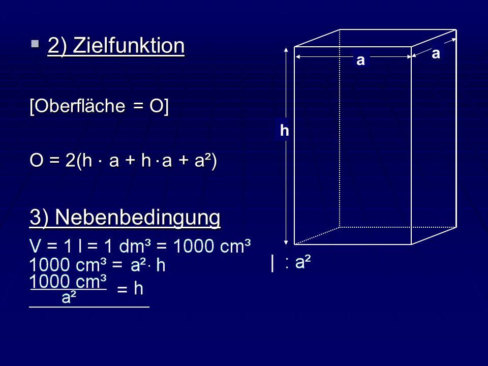 2) Zielfunktion 2) Zielfunktion [Oberfläche = O] O = 2(h a + h a + a²) 3) Nebenbedingung h a a
