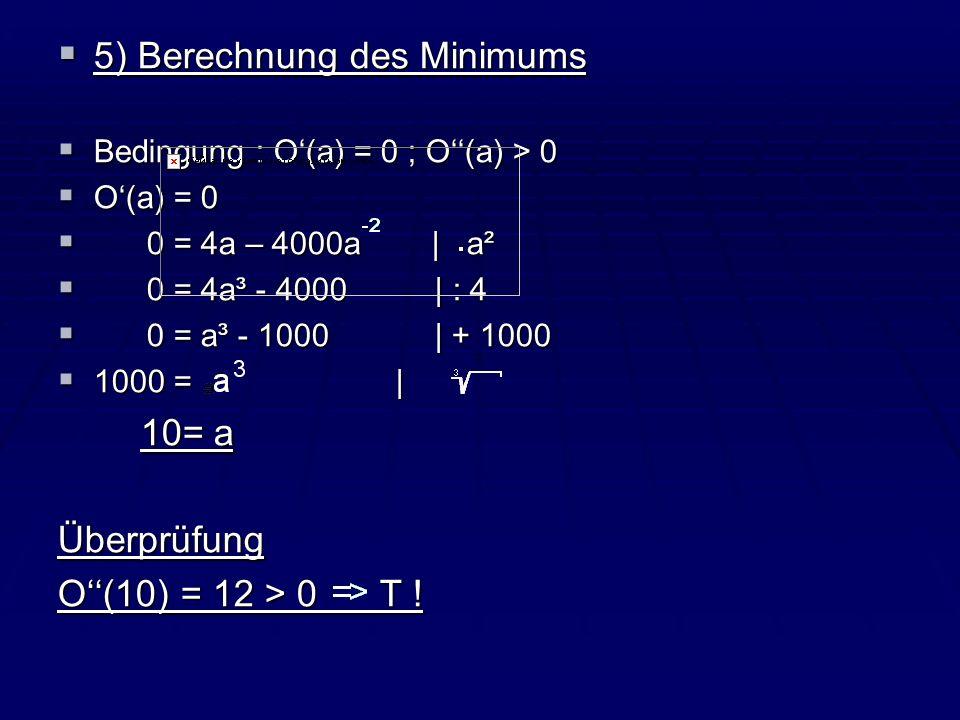 5) Berechnung des Minimums 5) Berechnung des Minimums Bedingung : O(a) = 0 ; O(a) > 0 Bedingung : O(a) = 0 ; O(a) > 0 O(a) = 0 O(a) = 0 0 = 4a – 4000a