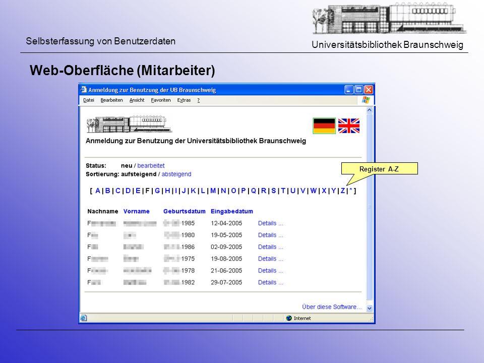 Universitätsbibliothek Braunschweig Selbsterfassung von Benutzerdaten Web-Oberfläche (Mitarbeiter) Register A-Z