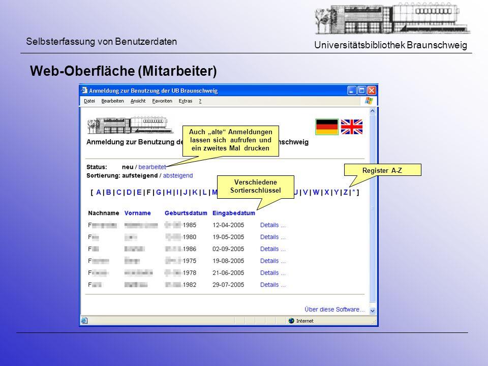 Universitätsbibliothek Braunschweig Selbsterfassung von Benutzerdaten Web-Oberfläche (Mitarbeiter) Register A-Z Verschiedene Sortierschlüssel Auch alt