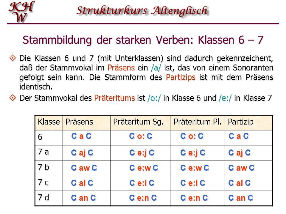 KlassePräsens Präteritum Sg. Präteritum Pl. Partizip 6 7 a 7 b 7 c 7 d Stammbildung der starken Verben: Klassen 6 – 7 Die Klassen 6 und 7 (mit Unterkl