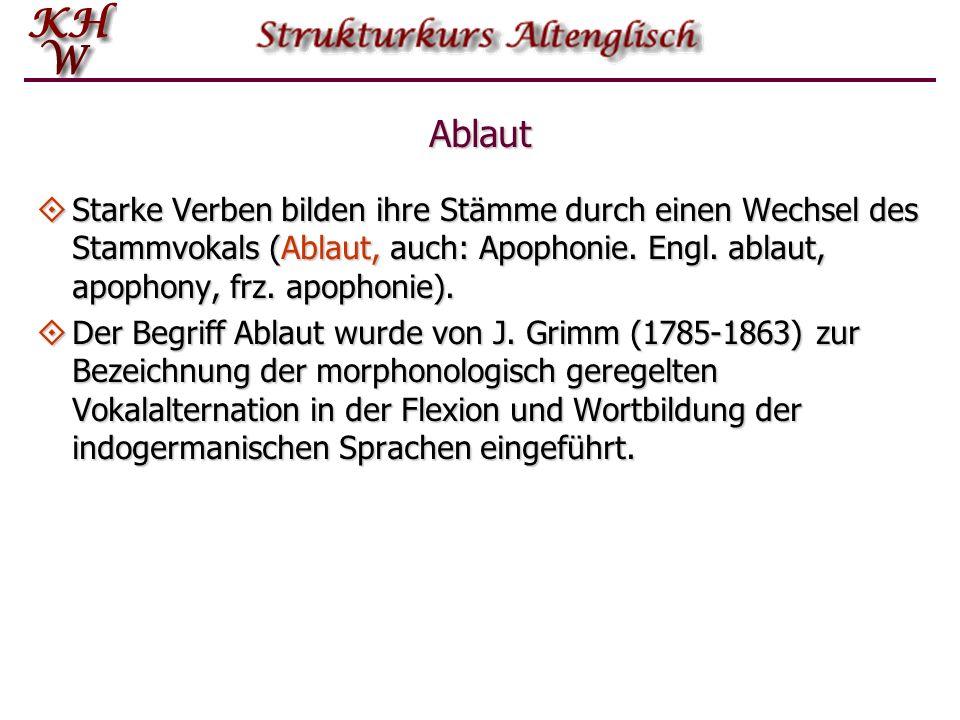 Ablaut Starke Verben bilden ihre Stämme durch einen Wechsel des Stammvokals (Ablaut, auch: Apophonie. Engl. ablaut, apophony, frz. apophonie). Starke