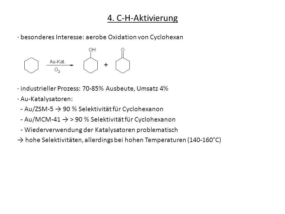 4. C-H-Aktivierung besonderes Interesse: aerobe Oxidation von Cyclohexan industrieller Prozess: 70-85% Ausbeute, Umsatz 4% Au-Katalysatoren: - Au/ZSM-