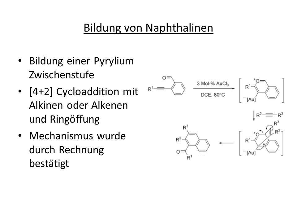 Bildung von Naphthalinen Bildung einer Pyrylium Zwischenstufe [4+2] Cycloaddition mit Alkinen oder Alkenen und Ringöffung Mechanismus wurde durch Rech