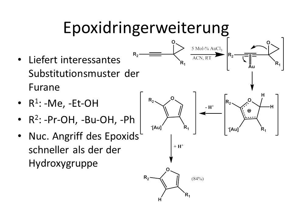 Epoxidringerweiterung Liefert interessantes Substitutionsmuster der Furane R 1 : -Me, -Et-OH R 2 : -Pr-OH, -Bu-OH, -Ph Nuc. Angriff des Epoxids schnel