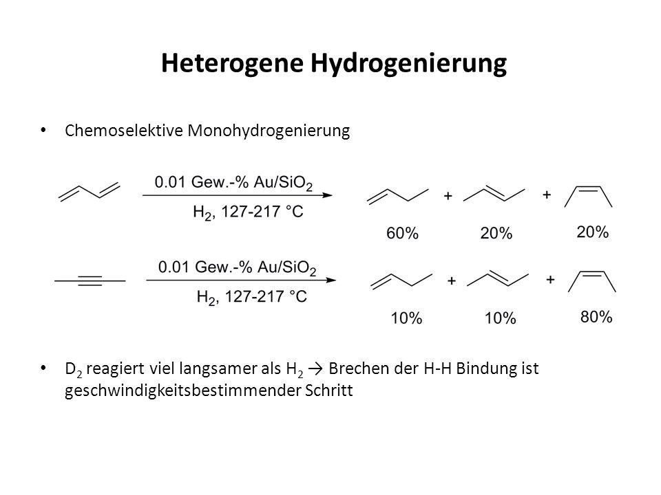 Heterogene Hydrogenierung Chemoselektive Monohydrogenierung D 2 reagiert viel langsamer als H 2 Brechen der H-H Bindung ist geschwindigkeitsbestimmend