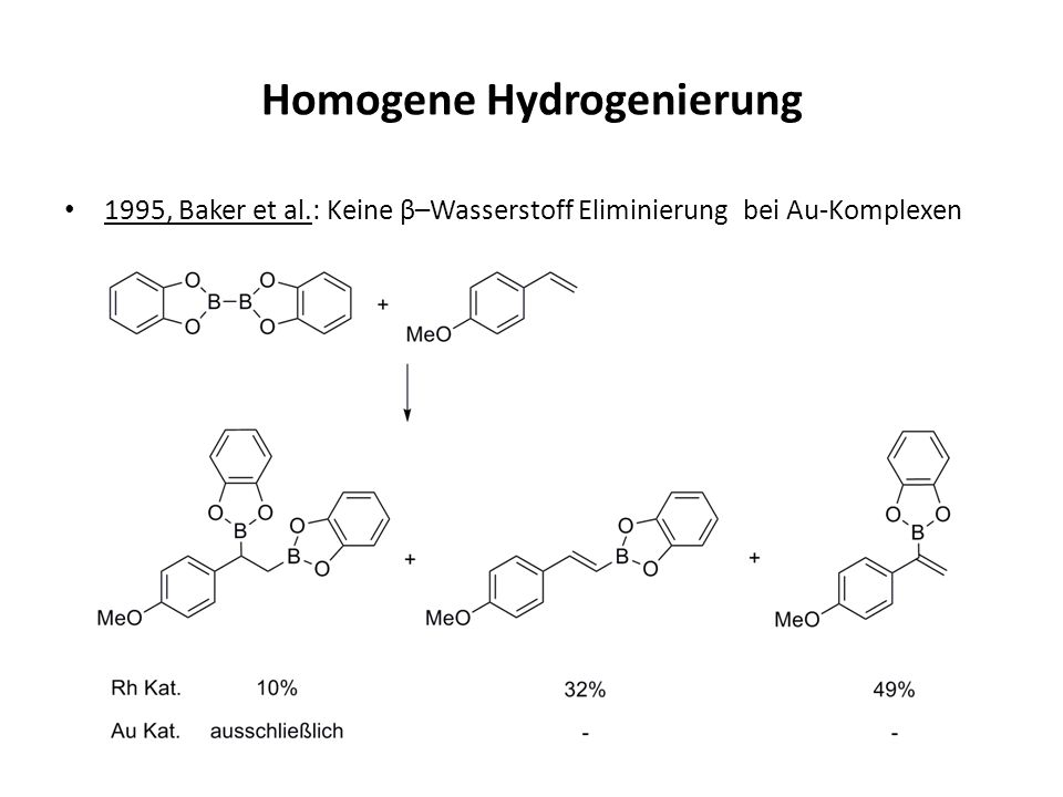 Homogene Hydrogenierung 1995, Baker et al.: Keine β–Wasserstoff Eliminierung bei Au-Komplexen