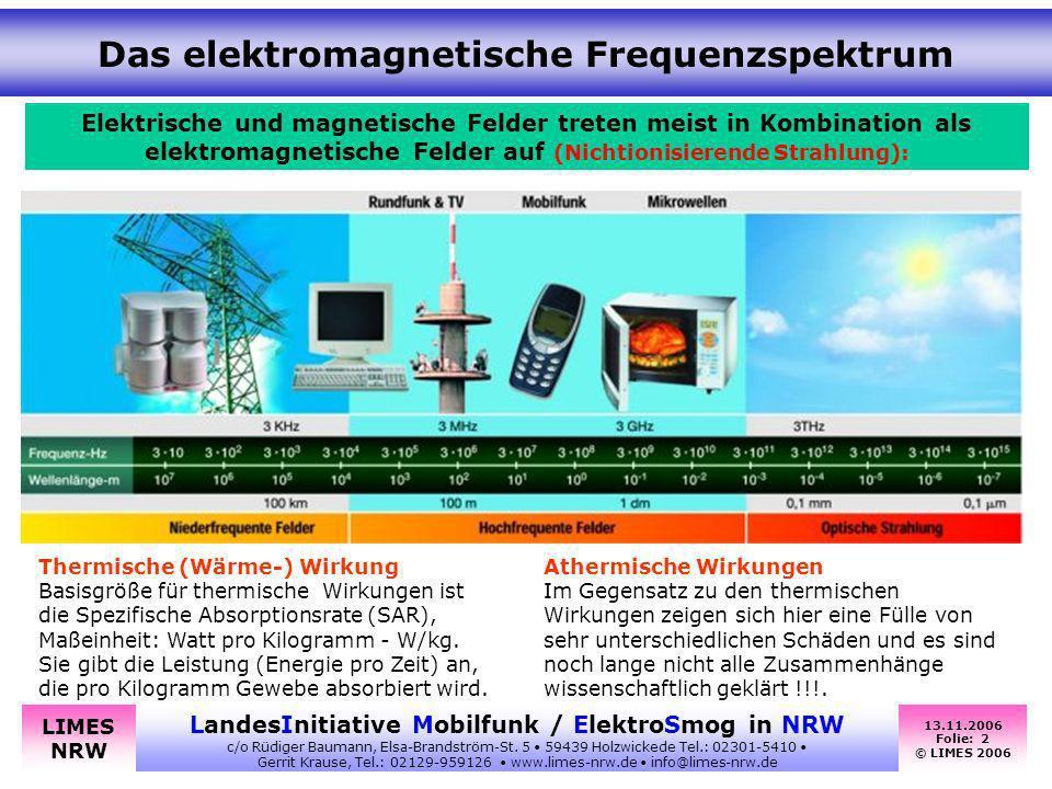 13.11.2006 Folie: 2 © LIMES 2006 LandesInitiative Mobilfunk / ElektroSmog in NRW c/o Rüdiger Baumann, Elsa-Brandström-St. 5 59439 Holzwickede Tel.: 02