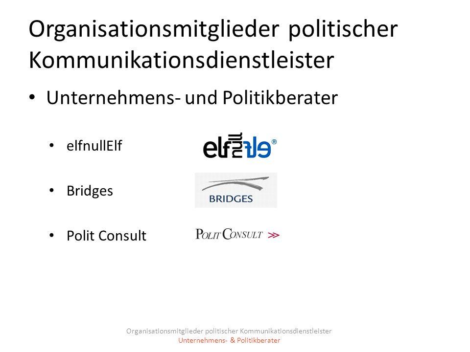 Organisationsmitglieder politischer Kommunikationsdienstleister Unternehmens- und Politikberater elfnullElf Bridges Polit Consult Organisationsmitglie