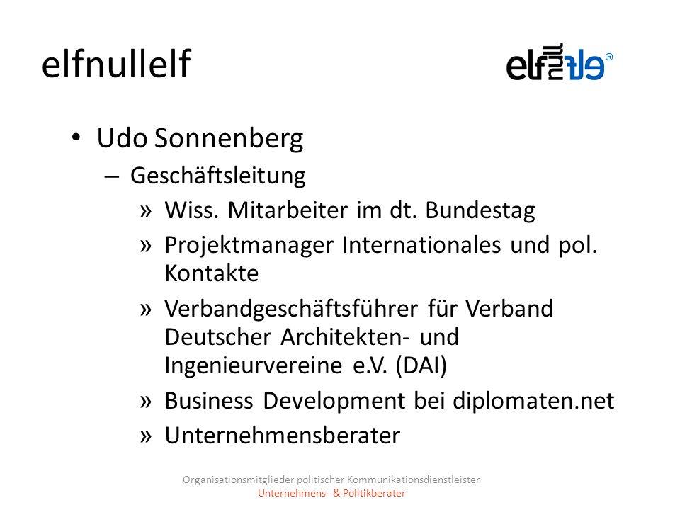 elfnullelf Udo Sonnenberg – Geschäftsleitung » Wiss. Mitarbeiter im dt. Bundestag » Projektmanager Internationales und pol. Kontakte » Verbandgeschäft