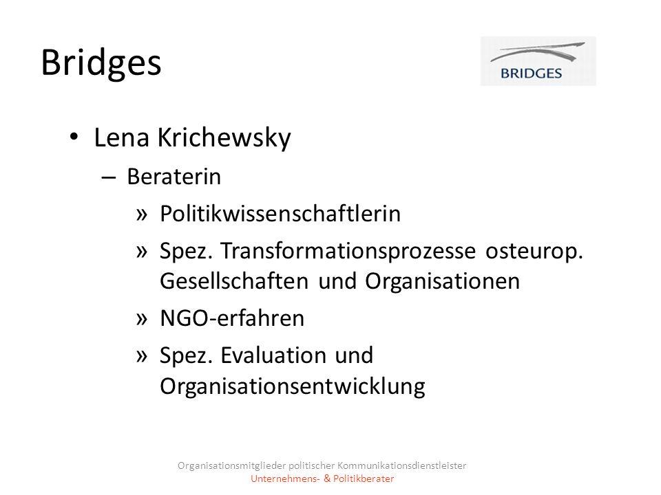 Bridges Lena Krichewsky – Beraterin » Politikwissenschaftlerin » Spez. Transformationsprozesse osteurop. Gesellschaften und Organisationen » NGO-erfah