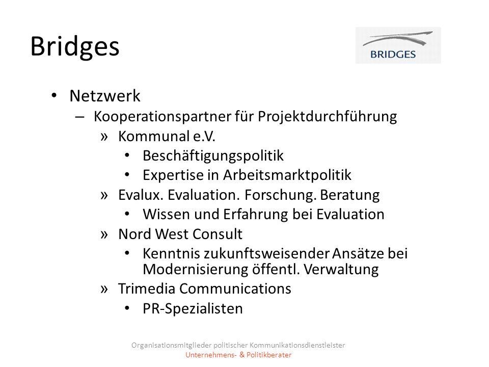 Bridges Netzwerk – Kooperationspartner für Projektdurchführung » Kommunal e.V. Beschäftigungspolitik Expertise in Arbeitsmarktpolitik » Evalux. Evalua