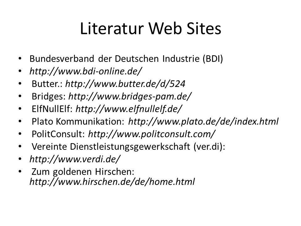 Literatur Web Sites Bundesverband der Deutschen Industrie (BDI) http://www.bdi-online.de/ Butter.: http://www.butter.de/d/524 Bridges: http://www.brid