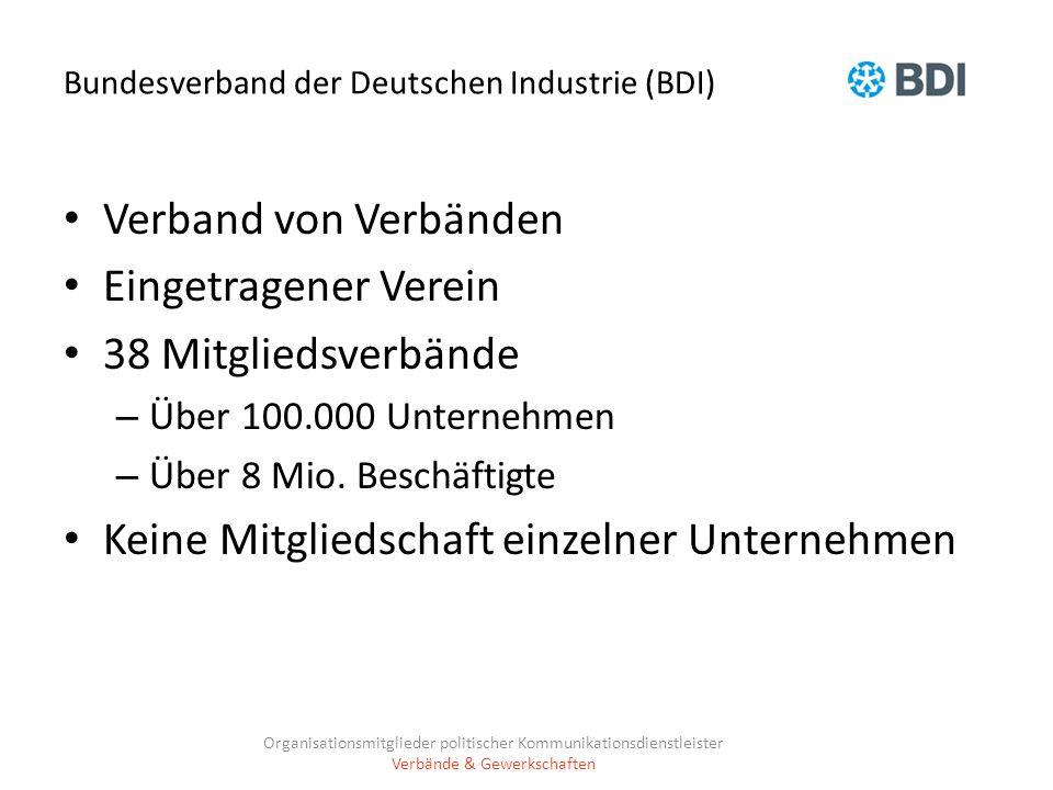 Bundesverband der Deutschen Industrie (BDI) Verband von Verbänden Eingetragener Verein 38 Mitgliedsverbände – Über 100.000 Unternehmen – Über 8 Mio. B