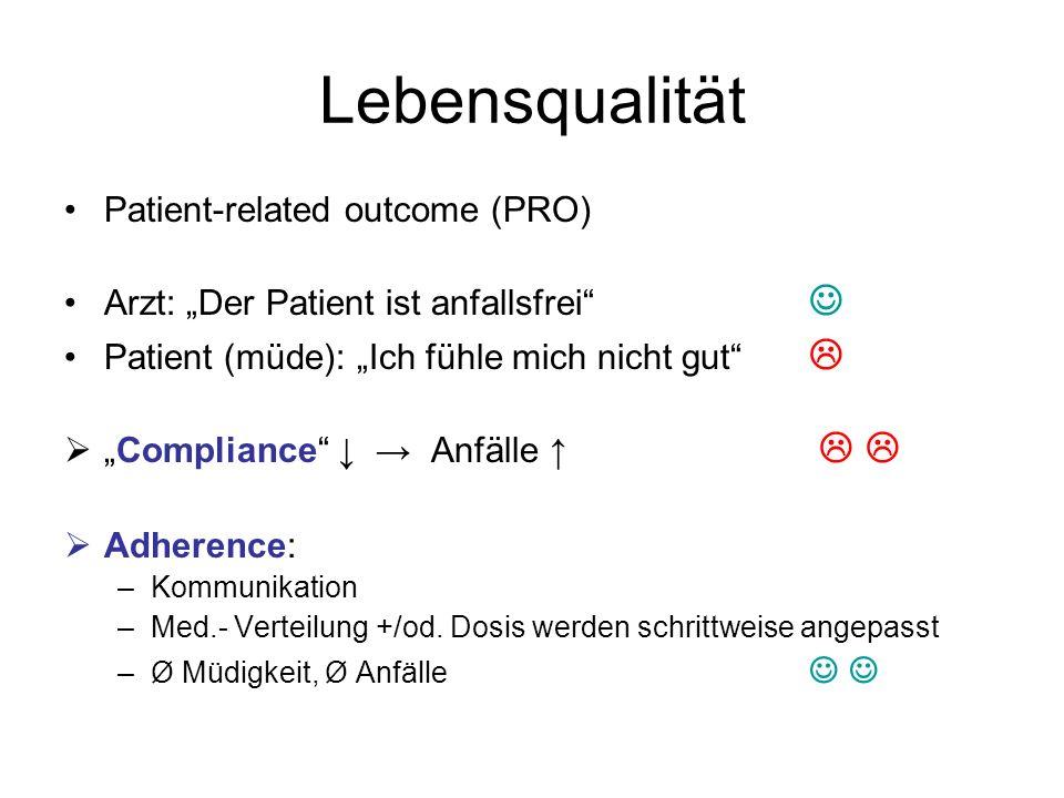 Lebensqualität Patient-related outcome (PRO) Arzt: Der Patient ist anfallsfrei Patient (müde): Ich fühle mich nicht gut Compliance Anfälle Adherence: –Kommunikation –Med.- Verteilung +/od.