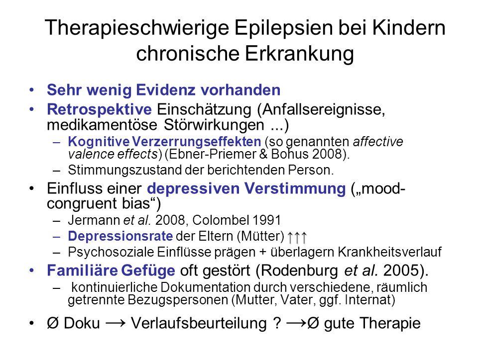 Therapieschwierige Epilepsien bei Kindern chronische Erkrankung Sehr wenig Evidenz vorhanden Retrospektive Einschätzung (Anfallsereignisse, medikamentöse Störwirkungen...) –Kognitive Verzerrungseffekten (so genannten affective valence effects) (Ebner-Priemer & Bohus 2008).