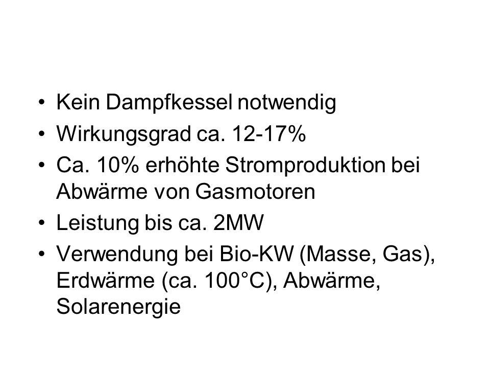 Kein Dampfkessel notwendig Wirkungsgrad ca.12-17% Ca.