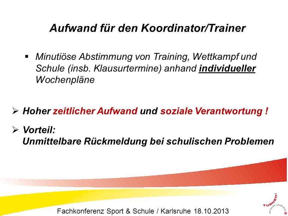 Minutiöse Abstimmung von Training, Wettkampf und Schule (insb. Klausurtermine) anhand individueller Wochenpläne Aufwand für den Koordinator/Trainer Ho
