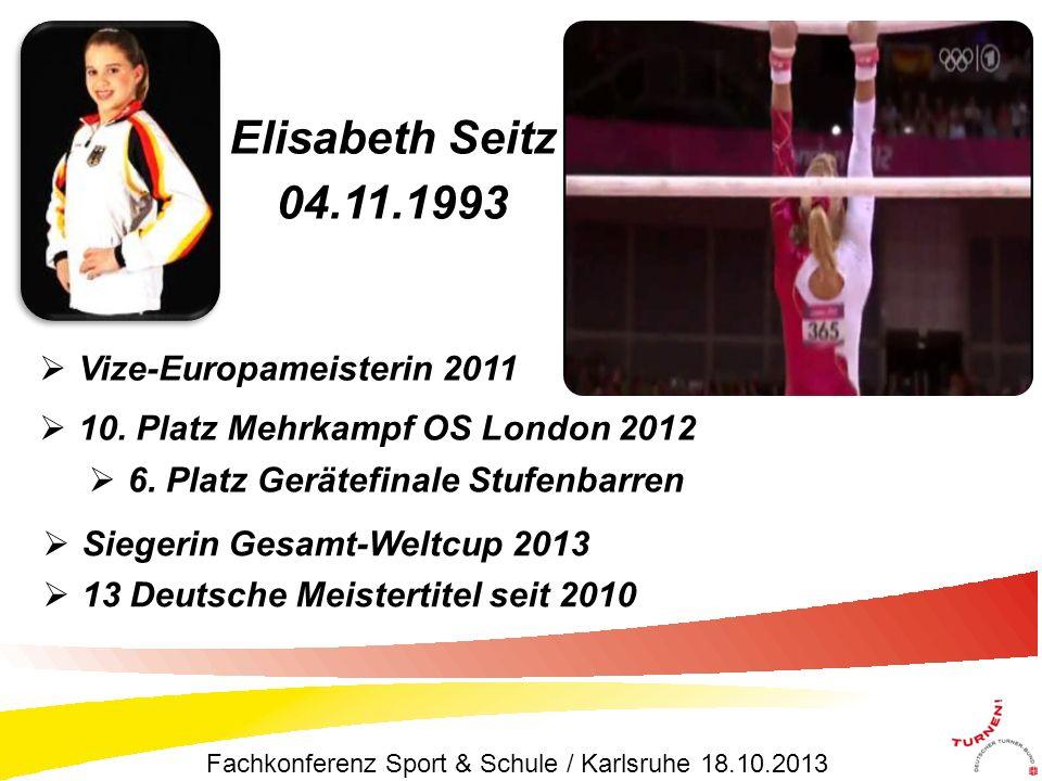 Vize-Europameisterin 2011 10. Platz Mehrkampf OS London 2012 Elisabeth Seitz 04.11.1993 Siegerin Gesamt-Weltcup 2013 13 Deutsche Meistertitel seit 201