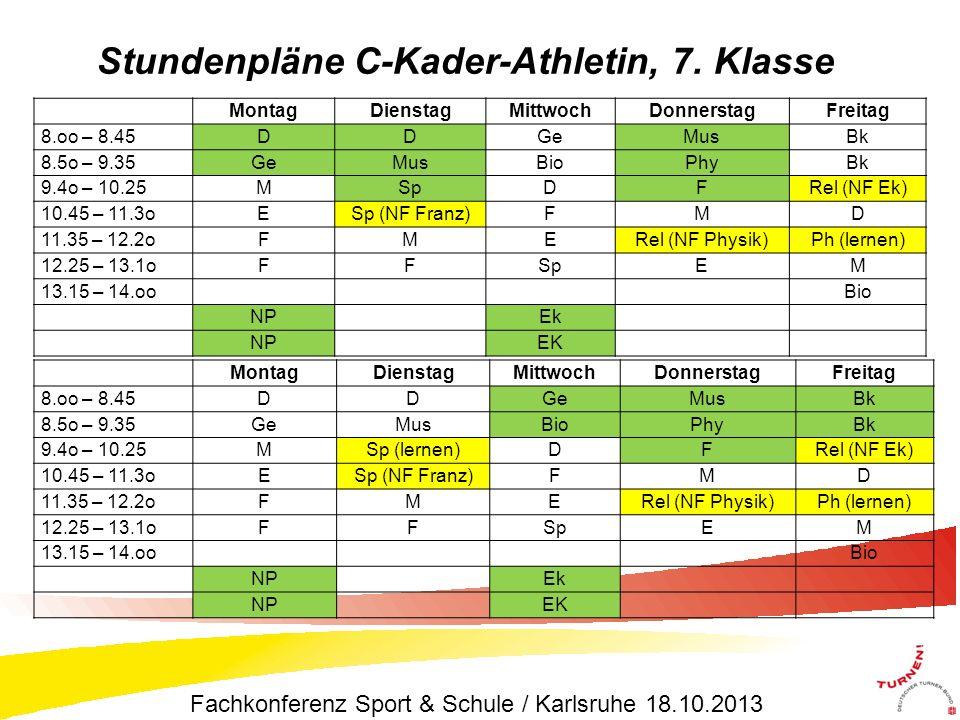 Stundenpläne C-Kader-Athletin, 7. Klasse MontagDienstagMittwochDonnerstagFreitag 8.oo – 8.45DDGeMusBk 8.5o – 9.35GeMusBioPhyBk 9.4o – 10.25MSpDFRel (N