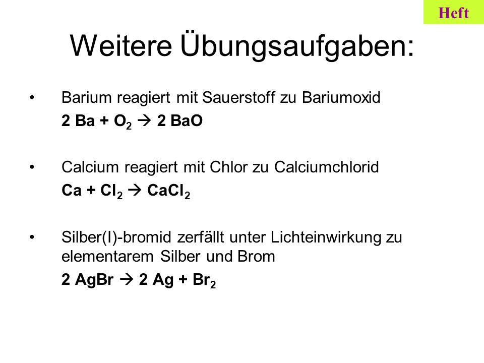 Weitere Übungsaufgaben: Barium reagiert mit Sauerstoff zu Bariumoxid 2 Ba + O 2 2 BaO Calcium reagiert mit Chlor zu Calciumchlorid Ca + Cl 2 CaCl 2 Si