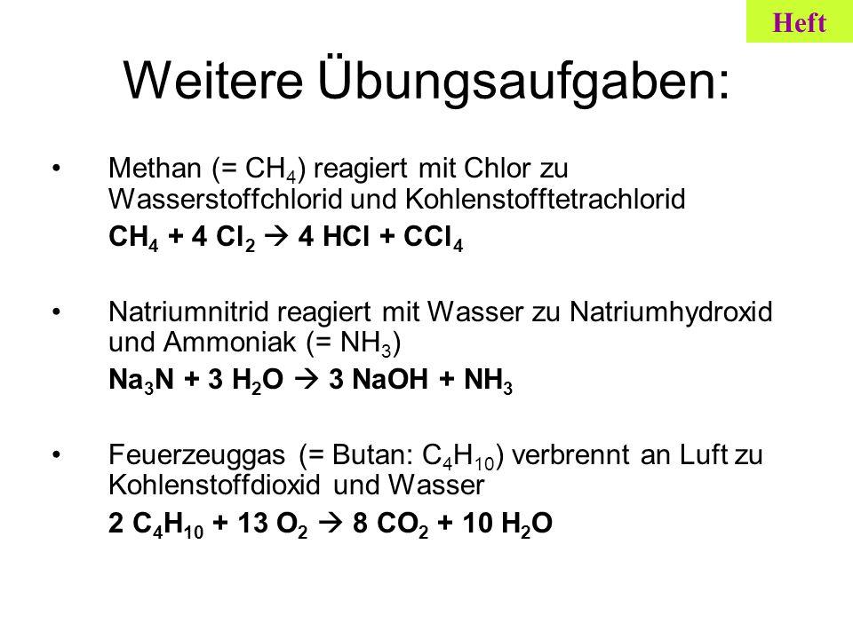 Weitere Übungsaufgaben: Methan (= CH 4 ) reagiert mit Chlor zu Wasserstoffchlorid und Kohlenstofftetrachlorid CH 4 + 4 Cl 2 4 HCl + CCl 4 Natriumnitri