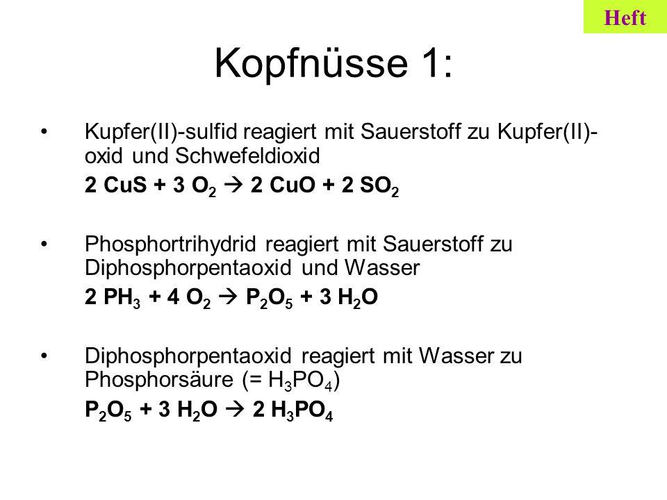 Kopfnüsse 1: Kupfer(II)-sulfid reagiert mit Sauerstoff zu Kupfer(II)- oxid und Schwefeldioxid 2 CuS + 3 O 2 2 CuO + 2 SO 2 Phosphortrihydrid reagiert