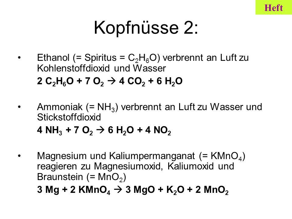 Kopfnüsse 2: Ethanol (= Spiritus = C 2 H 6 O) verbrennt an Luft zu Kohlenstoffdioxid und Wasser 2 C 2 H 6 O + 7 O 2 4 CO 2 + 6 H 2 O Ammoniak (= NH 3