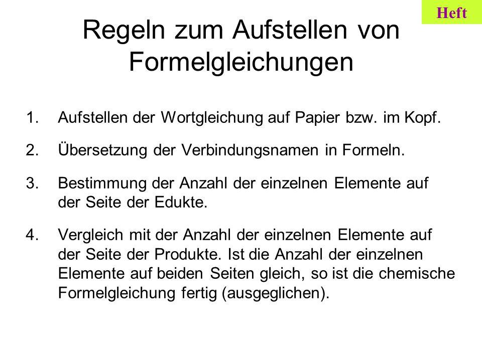 Regeln zum Aufstellen von Formelgleichungen 1.Aufstellen der Wortgleichung auf Papier bzw. im Kopf. 2.Übersetzung der Verbindungsnamen in Formeln. 3.B