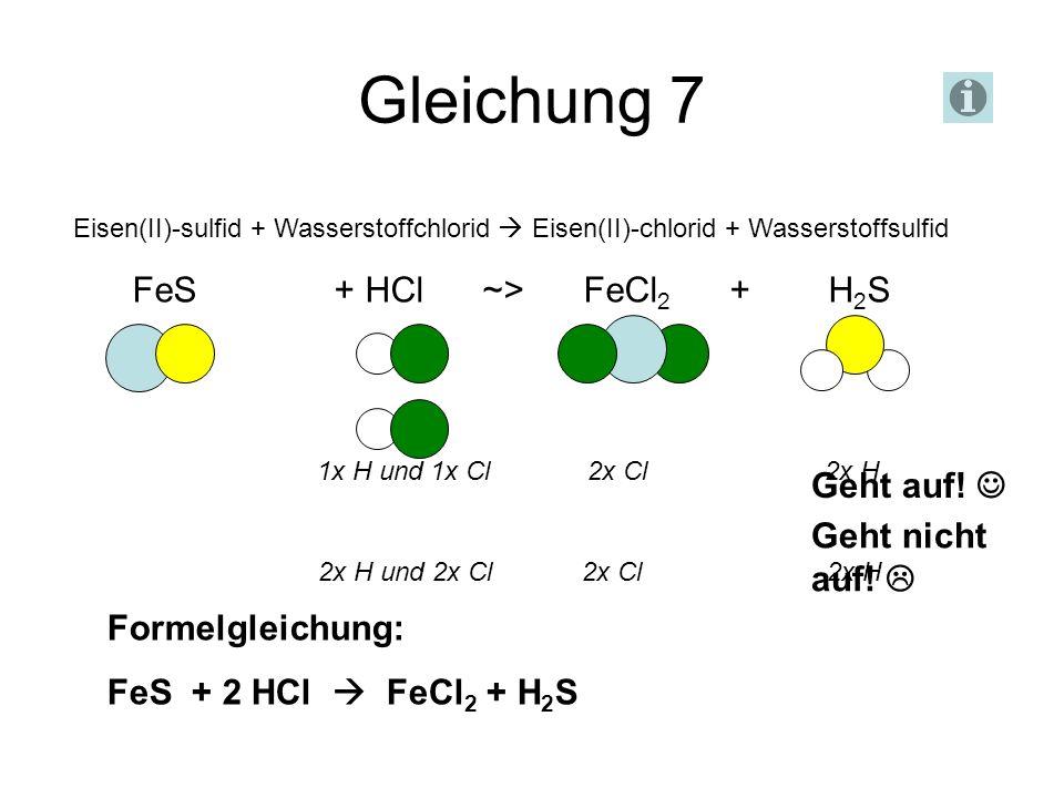 Gleichung 7 Eisen(II)-sulfid + Wasserstoffchlorid Eisen(II)-chlorid + Wasserstoffsulfid FeS + HCl ~> FeCl 2 + H 2 S Geht nicht auf! 1x H und 1x Cl 2x