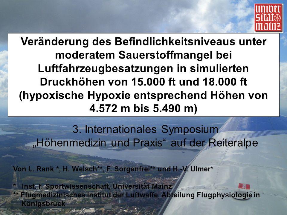 Veränderung des Befindlichkeitsniveaus unter moderatem Sauerstoffmangel bei Luftfahrzeugbesatzungen in simulierten Druckhöhen von 15.000 ft und 18.000