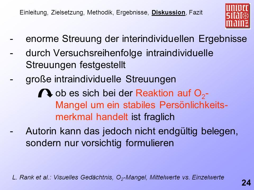 -enorme Streuung der interindividuellen Ergebnisse -durch Versuchsreihenfolge intraindividuelle Streuungen festgestellt -große intraindividuelle Streu