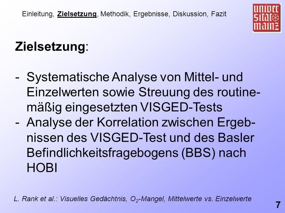 Zielsetzung: -Systematische Analyse von Mittel- und Einzelwerten sowie Streuung des routine- mäßig eingesetzten VISGED-Tests -Analyse der Korrelation
